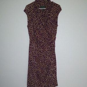 Ralph Lauren Dress Long Sleeve Brown Purple Sz 14
